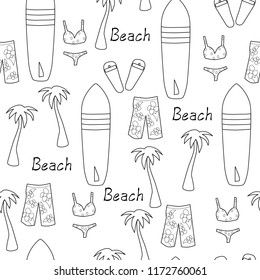black and white seamless vector pattern beach vacation surf board swim trunks bikini palm tree beach words flip flops