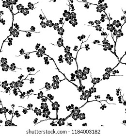 Black and white seamless vector pattern of cherry flowers in blossom and branches on white background.