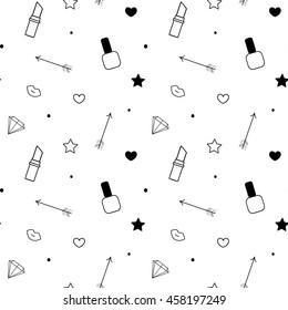 black white seamless vector pattern background illustration with lipstick, nail polish, lips, diamond, arrow, star and heart