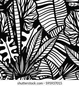 Black and white seamless vector pattern with  tropical  leaves.