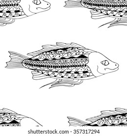 Black and white Seamless Zentangle fish background. Vector illustration image