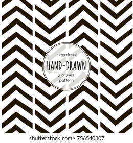 Black and white seamless zigzag pattern. Vector template suitable for textiles, wrapping paper and bedding.