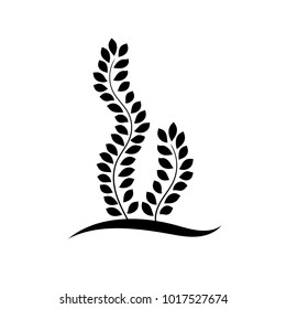 Black and white seaweed plant with leaves floral logo, vector