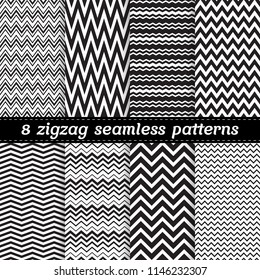 Black and white set of 8 seamless vector patterns with zigzag