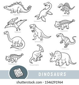 Black and white set of dinosaurs, collection of vector animals with names in English. Cartoon visual dictionary for children