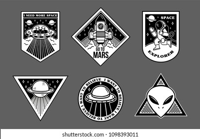 Black white set icons with different patches stickers on topic space explore alien ufo spaceship mars astronaut. Modern vector style mascot logo trendy print for clothes t shirt sweatshirt poster.