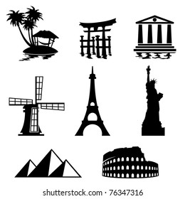 black and white set icons - travel and landmarks