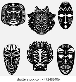Black and white set of six traditional ritual masks native shamans of ancient tribes and religions Voodoo Africa, America and Australia with ornaments and magical patterns