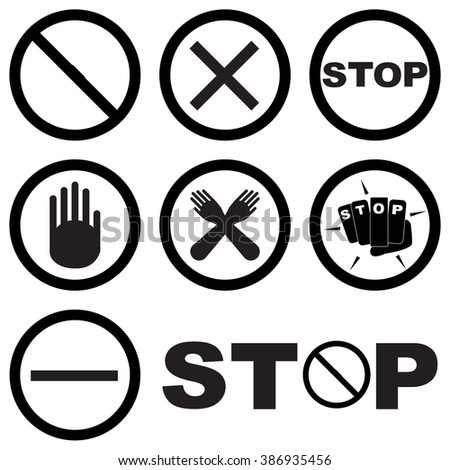 Black White Set Stop Signs Symbols Stock Vector Royalty Free
