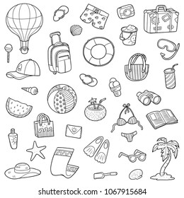 Black and white set of summer objects, vector cartoon collection