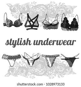 black and white sexy stylish underwear