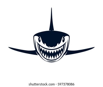 Black and white shark with open jaws on a white background. Vector illustration
