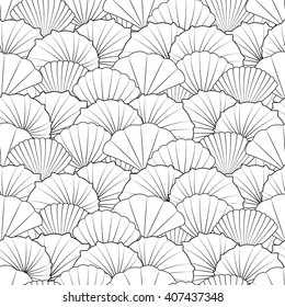 Black and white shells, modern line art. Seamless pattern for coloring book. Vector.