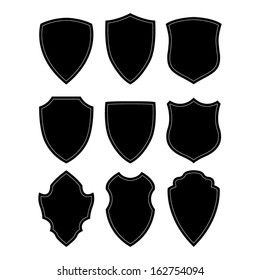 Black and white shield silhouette