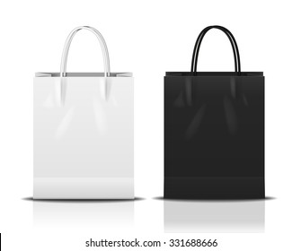 black & white shopping bag, vector Illustration