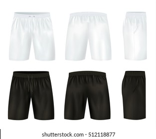 Black and white shorts icon set with front and back side views vector illustration