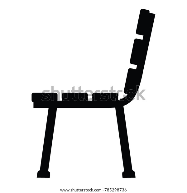 Black White Side View Silhouette Bench Stock Vector