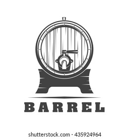 Black and white signs barrel on a white background, vector illustration for menu, label, poster / Wooden barrel signs