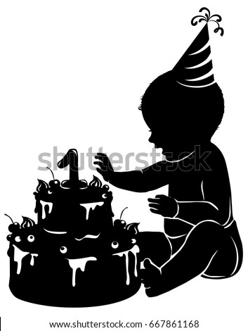 Black White Silhouette Baby Cake First Stock Vector Royalty Free