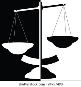 Black and white silhouette of balance scale vector