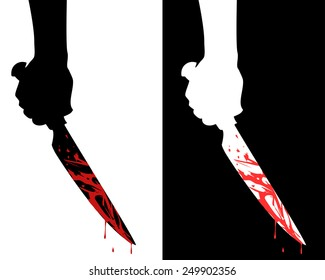Black and white silhouette of a bloody knife in hand