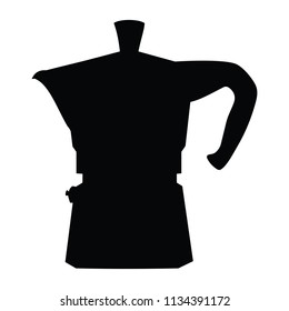 A black and white silhouette of a coffee percolator