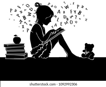 Black and white silhouette cute little girl reading book with teddy bear