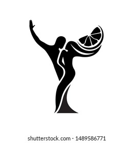 Black and white silhouette of a dancing couple in vector. Monochrome logo for dance Studio. Latin, ballroom dancing. Label, sign, sticker. Man and woman dancing.