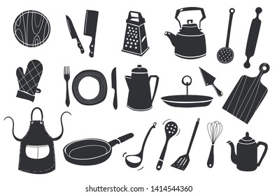 black and white silhouette doodle vector icon set