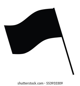 A black and white silhouette of a flag on a pole