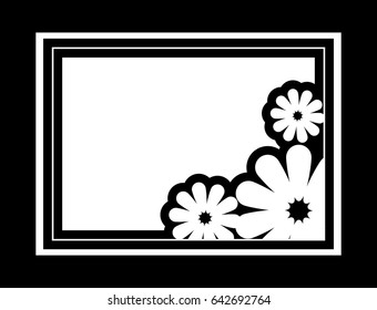 Black and white silhouette frame with decorative flowers. Vector clip art