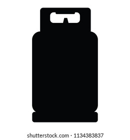 A black and white silhouette of gas bottle