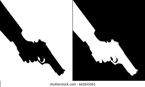 Black and white silhouette of hand holding down a pistol