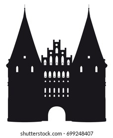 Black and white silhouette of the Holstentor in Luebeck, Germany