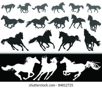 black and white silhouette of a horse gallop, vector