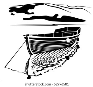 Black White Silhouette Image Traditional Fisherman Stock Vector Royalty Free 52976581