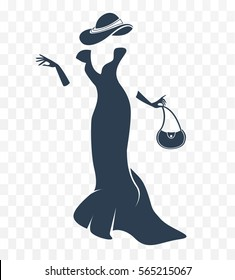 black and white silhouette of a lady. women's dresses, hats, gloves, handbags