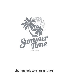 Black white, silhouette logo template with two palm trees and stylized sky, vector illustration isolated on white background.