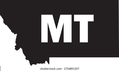 Black and White Silhouette Map of the US Federal State of Montana with it's Postal Code Abbreviation