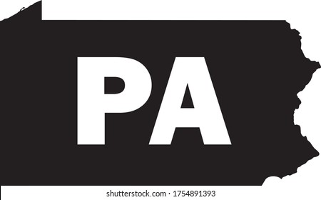 Black and White Silhouette Map of the US Commonwealth of Pennsylvania with it's Postal Code Abbreviation