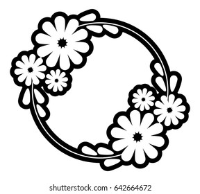 Black and white silhouette round frame with decorative flowers. Vector clip art