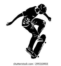 black and white silhouette skateboarder man , jumps on skateboard, white background ,grunge vector