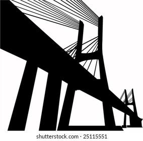 Black and white silhouette of  suspension bridge