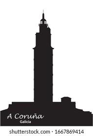 black and white silhouette Tower of Hercules in A Coruna, Galicia, Spain