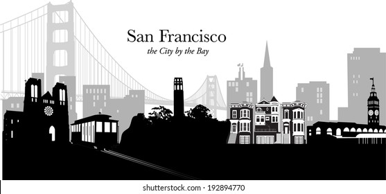 Black and white silhouette vector illustration of San Francisco USA skyline with golden gate bridge and downtown cityscape in pale gray