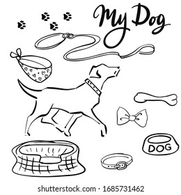 """Black and white silhouettes of a dog, accessories for dogs, the inscription """"My Dog"""""""