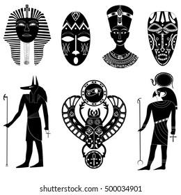 Black - white silhouettes set of Egyptian Pharaoh Tutankhamun, Cleopatra and Nefertiti, Anubis, Ra, scarab beetle, African tribal masks and shamans.