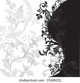 Black, white and silver flowery pattern vector illustration