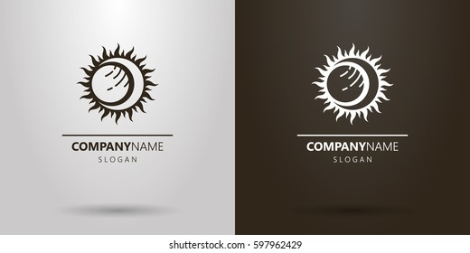 Black and white simple abstract vector solar eclipse logo