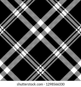 Black white simple check plaid seamless pattern. Vector illustration.